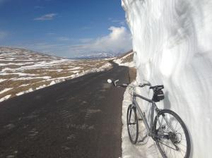 Snow drifts and views at 13,000 feet