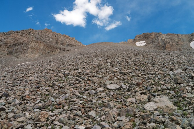 A closer look at the scree slope on castlebra later that afternoon