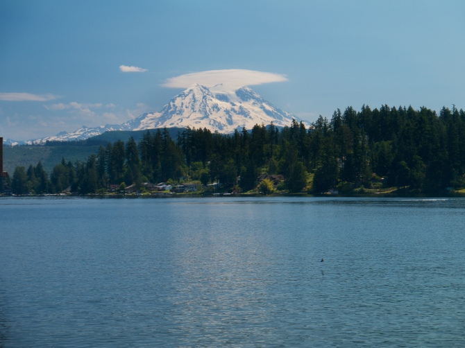 Rainier from a private dock on the drive to ashford