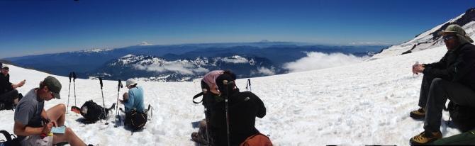 Taking a break on the Muir Snowfield