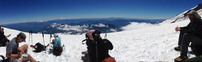 Taking a break on the Muir Snowfield