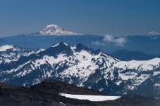 Mt Adams (left) and Mt Hood (right) from the muir snowfield