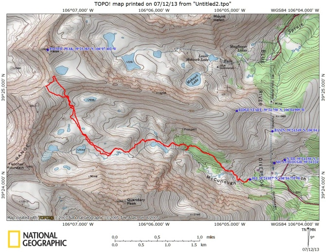 Topo map (note only the descent route is marked, the ridge should be obvious on the map)