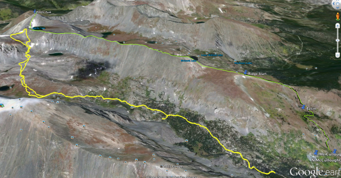 Google Earth Route Overview.  Ascent route is shown in green descent in yellow