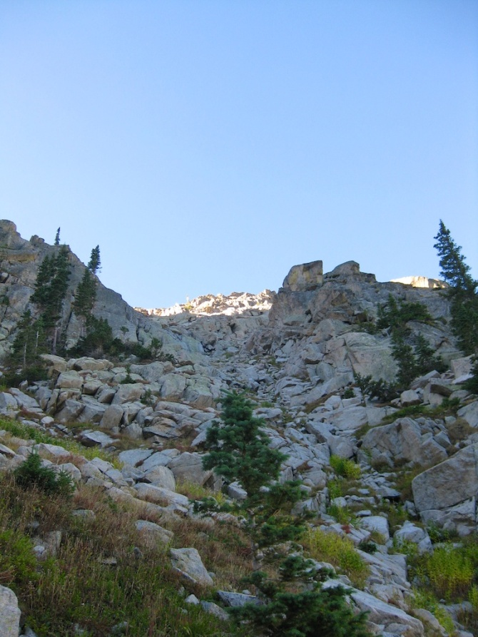 Looking up the gully towards the saddle