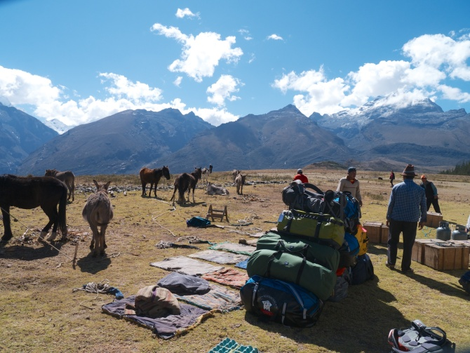 Loading all of our food and duffles onto donkeys.