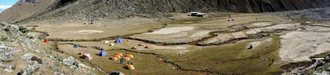 This was our base camp in the ishinca Valley.  We slept in the orange tents and the blue tent was our cook tent.  The big brown tent was where we ate our meals.