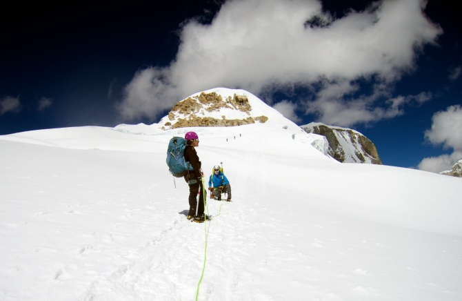 After the crevasses we made a flat traverse to the base of the summit.