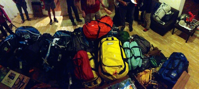 All of our bags piled up in the lobby of our hotel in Huaraz