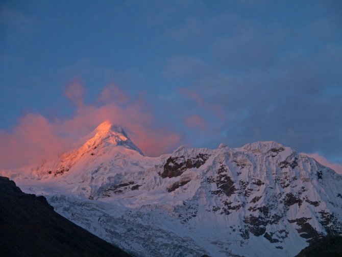 That night back in camp I watched the sunset over this beautiful giant. Tocllaraju (19797 ft / 6034 m)