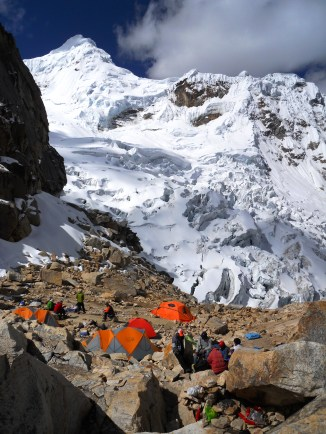 High camp situated in the moraine.